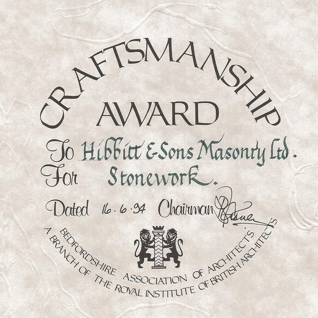 Craftsmanship award 1994 Hibbitt & Sons 1 (2)